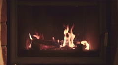 4K Fireplace with Burning Wood Logs. Autumn and Winter holidays Stock Footage