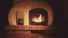 4K Fireplace with Burning Wood Logs. Abstract Background. Autumn and Winter. Stock Footage
