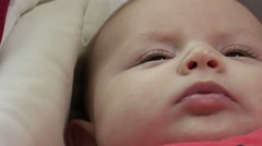 Newborn baby portrait in the cradle, crib Stock Footage