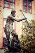 Fountain of the Neptune in old town of Gdansk, Poland Stock Photos