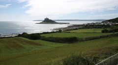 St Michaels Mount - wide shot Stock Footage