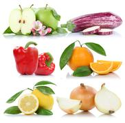 Fruits and vegetables apple orange bell pepper apples oranges lemon collectio Stock Photos