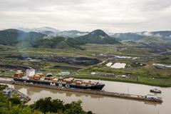 Cargo ship in Panama Canal Stock Photos