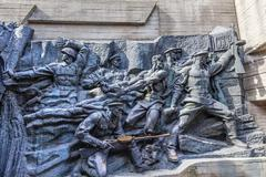 Soviet Soldiers Attacking World War 2 Monument Great Patriotic W Stock Photos