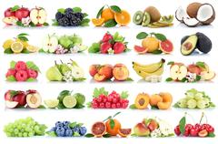Fruits fruit collection orange apple apples banana strawberry pear grapes che Stock Photos