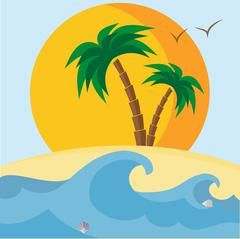 Palm trees, beach, seashells, sunset and waves Stock Illustration
