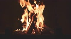 4K Close Up of Wood Burning in a Fireplace. Stock Footage