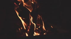 Close Up of Wood Burning in a Fireplace. SLOW MOTION 120 fps. Stock Footage