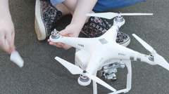 Preparing the drone for takeoff Stock Footage