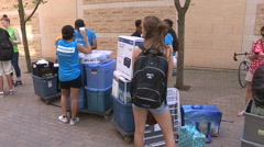 Diverse college and university students head back to school Stock Footage