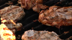 Barbecue chicken on grill Stock Footage