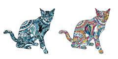 Line art of cat with coloring on white background Stock Illustration