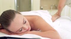 Beautiful woman massage in spa salon Stock Footage