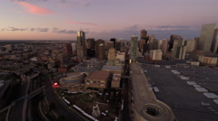 Denver CO Aerial, downtown at dusk Stock Footage