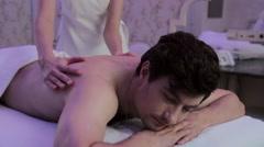 Man massage in spa salon Stock Footage