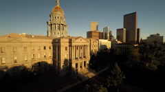 Denver CO Aerial, State Capitol Building, morning, tracking backwards Stock Footage