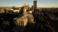 Denver CO Aerial, State Capitol Building, sunrise, partial orbit Stock Footage