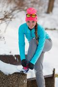 Exercises in winter aura Stock Photos