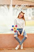 Girl teenager Spinner Array Tool Stock Photos