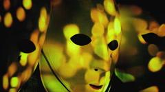 Masks scary bonfire sparkles bokeh big Stock Footage