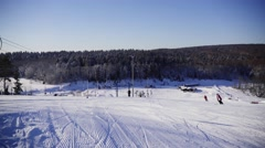 Mountains ski resort, wide view Stock Footage