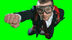 Businessman Superhero Flying to Save your Deal Stock Footage