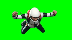 Excited Inexperienced Skydiver Parachuting Stock Footage