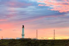 Girdle Ness lighthouse During Sunrise in Aberdeen, Scotland UK Stock Photos