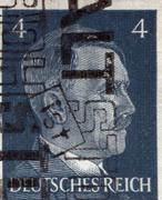 GERMANY - CIRCA 1942: A stamp printed in Germany shows portrait of Adolf Hitler Stock Photos