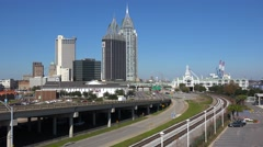 A wide downtown establishing shot of Mobile, Alabama. Stock Footage