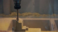 Manufactured machine work with wood thing carefully close up Stock Footage