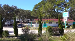 Establishing shot of a holiday campground. Stock Footage