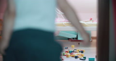 Little Boy Playing with Toy Blocks Stock Footage