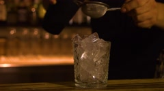 Alcoholic drink with ice. Stock Footage