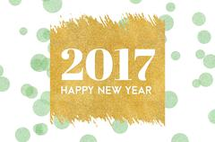 Happy new year 2017 word on gold rectangle glitter on light green dot pattern Stock Illustration