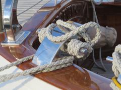 Bollard of a classic dutch yacht Stock Photos
