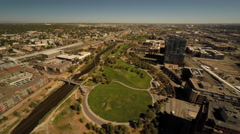 Denver CO Aerial, Commons Park Stock Footage