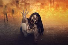 Asian zombie woman is anger Stock Photos