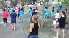 In the morning, people are dancing and exercising. Stock Footage