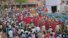 Parvati's idol is carried in procession,Jaipur,Gangaur,India Stock Footage