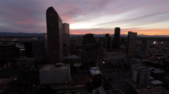 Denver CO Aerial, downtown, sunset Stock Footage