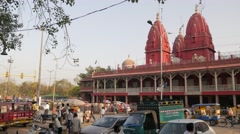 Chandni Chowk with Shri Digambar Jain Lal Mandir,New Delhi,India Stock Footage
