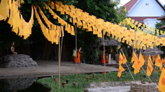 Young Buddhist monks in religious activities Stock Footage