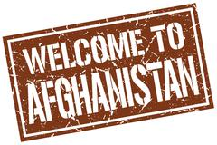 Welcome to Afghanistan stamp Stock Illustration
