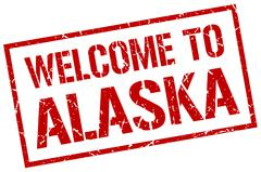 Welcome to Alaska stamp Stock Illustration