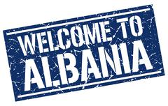 Welcome to Albania stamp Stock Illustration