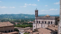 Timelapse of Gubbio and the surrounding hills, Umbria, Italy Stock Footage