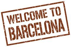 Welcome to Barcelona stamp Stock Illustration