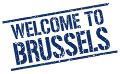 Welcome to Brussels stamp Stock Illustration