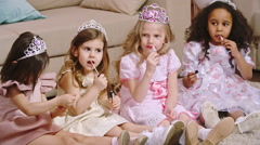Little Princesses Doing Makeup Stock Footage